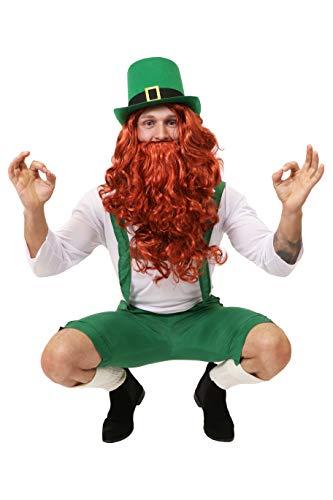 ILOVEFANCYDRESS Irland Leprechaun Zwerge KOSTÜM VERKLEIDUNG=GRÜNE 3/4 Latzhose+WEISSES Oberteil+ROTE PERÜCKE+BART= Kobold IRISCHER GLÜCKSBRINGER...