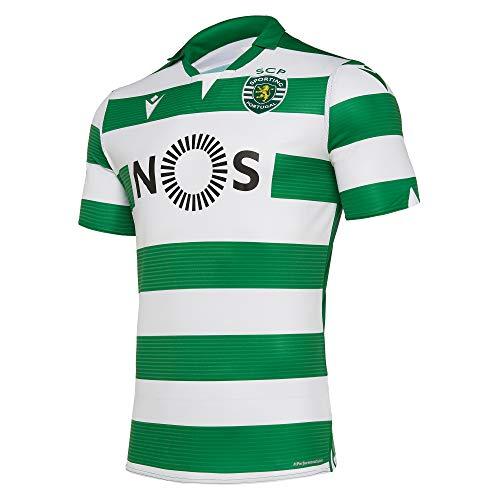 Macron Fanartikel Sporting Lissabon · SCP Liga Trikot Home 19-20 · Bekleidung Oberteil Hemd Jersey Shirt Heim Heimtrikot · Unisex Damen Herren Frauen Männer · Saison 2019-2020, Erwachsene, Größe L
