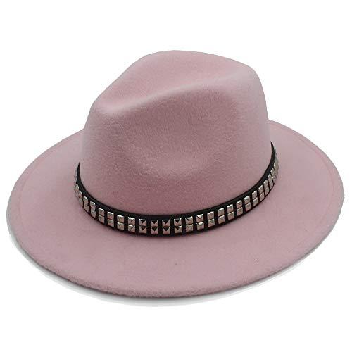 sun hat Men Women Wool Fedora Hat Dance Party Hat Casual Wild Church Hat Pop Panama Jazz Hat beach hat (Color : Pink, Size : 56-58)
