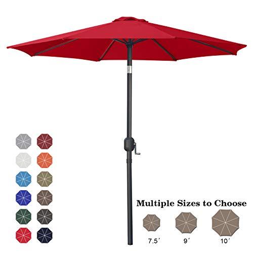 10' Patio Umbrella Table Market Umbrella with Push Button Tilt for Garden, Deck, Backyard and Pool, 6 Ribs 13+Colors,Red