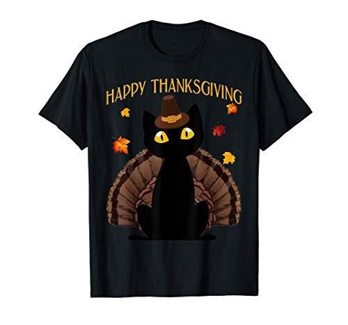 Funny Black Cat Turkey Happy Thanksgiving Gift T-Shirt