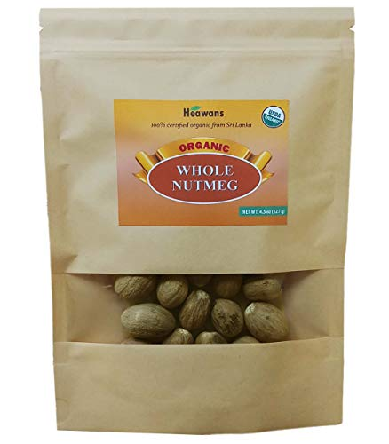 Heawans Organic Whole Nutmeg 4.5 oz, Premium Grade, Packed in a stand up resealable pouch.