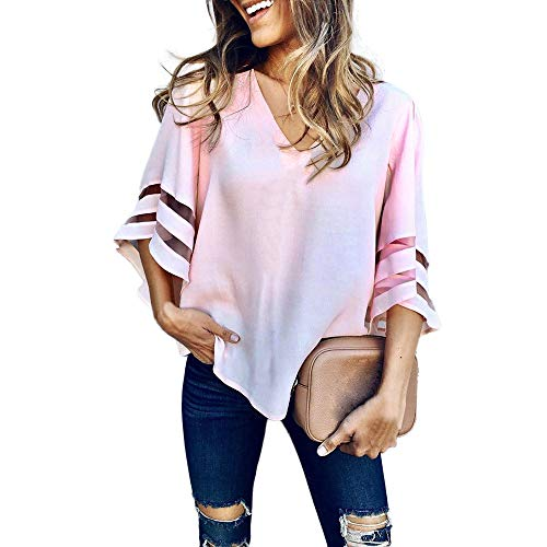 Women's Stitching Trumpet Sleeve V-Neck Loose Slim T-Shirt O Neck Tops Short Sleeve Sweatshirt Pullover Blouse T Shirt Pink