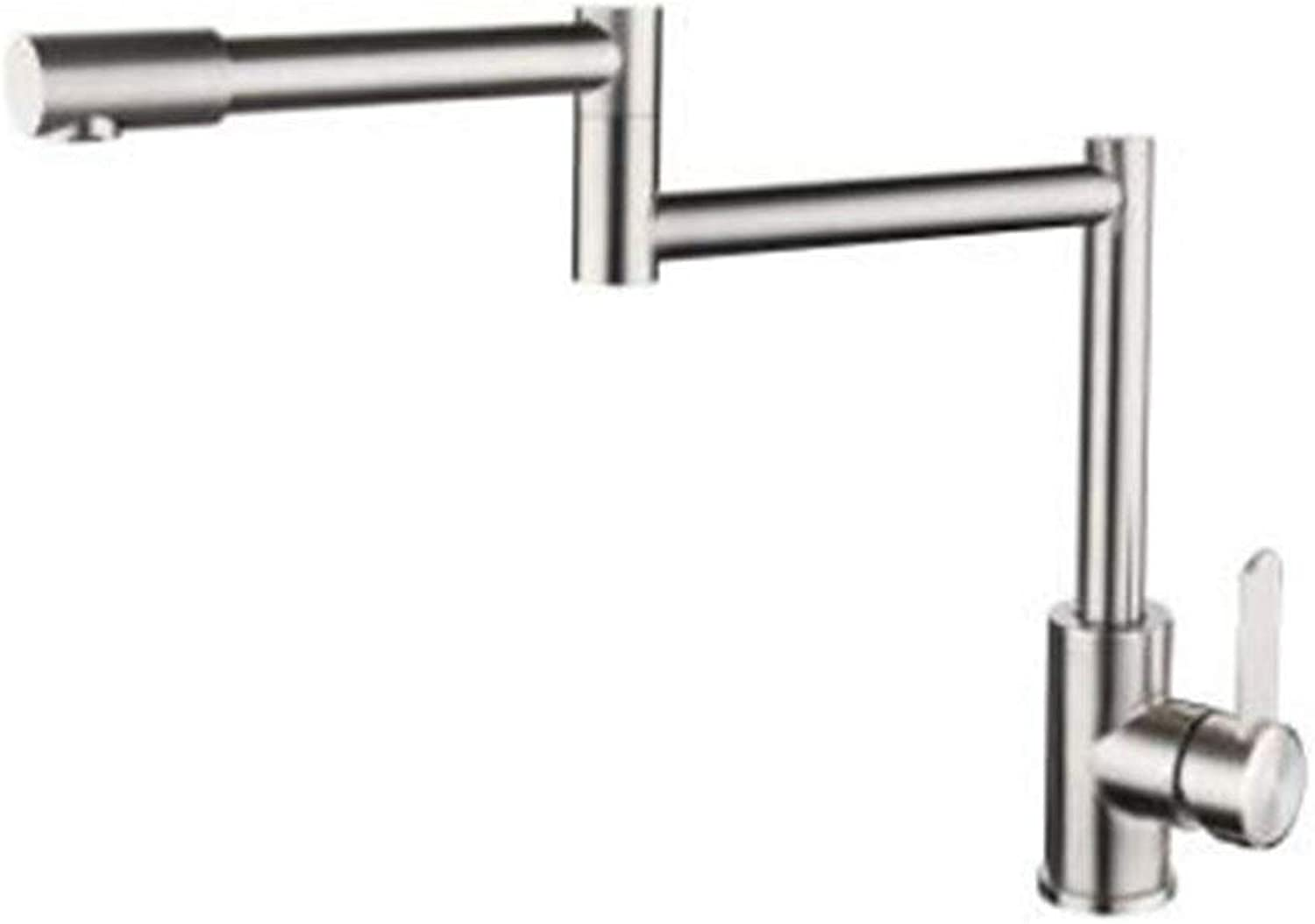 DIAOSI 304 stainless steel kitchen faucet folding redating lead-free brushed sink hot and cold water faucet
