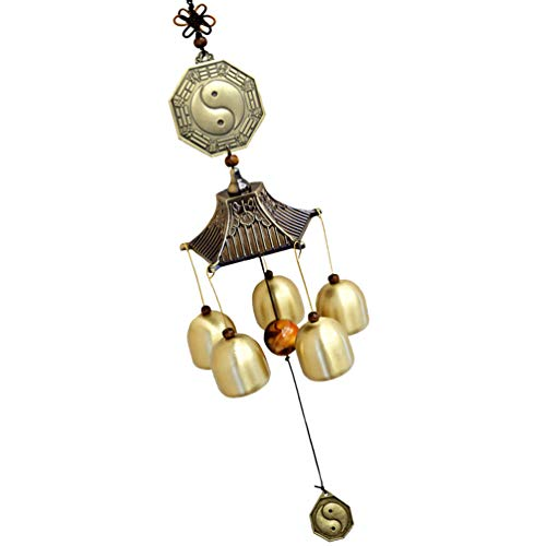 VOSAREA Antike Feng Shui Windspiel Vintage Kupfer Yin Yang Windspiel Fenster Gartendekoration
