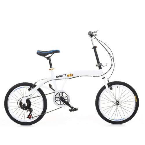 Bicicleta para adultos con marco plegable de bicicleta 7 velocidades 20 pulgadas Doble V freno Heavy Duty Kick Stand (blanco)