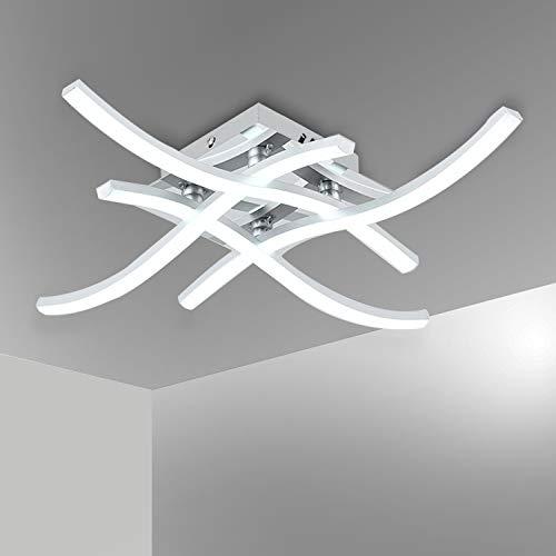 Bojim Lámpara de Techo LED de Diseño Ondulada, 24W 2400lm, AC 220V - 240V, Lámpara de Araña de Luz Blanco Natural 4000K IP20, Luz de Techo LED para Dormitorio, Cocina, Salón, Oficina, Pasillo
