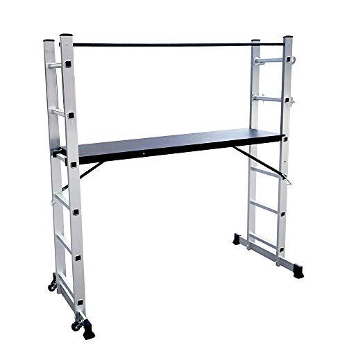 Armazón de aluminio LARS360, 3 en 1, escalera multifunción, escalera plegable, escalera con 2 x 6 peldaños y 1,47 m de superficie de trabajo, 2 ruedas, soporta hasta 150 kg