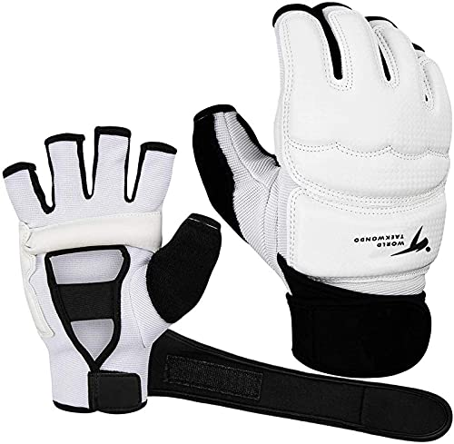 Taekwondo Handschuhe für Kinder Herren Damen, Leder Boxhandschuhe Größe S/M/L/XL Sparringhandschuhen Boxsack, Weiß Punchinghandschuhe für Kampfsport MMA Freefight Sparring Training (M, Boxhandschuhe)…