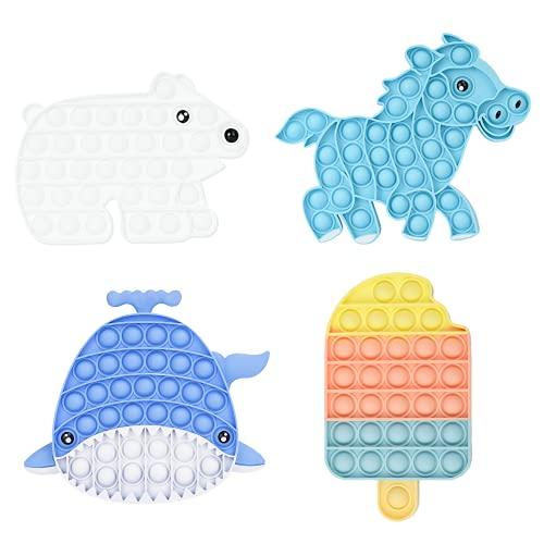 Tumuka 4 Unidades Pop it Fidget Toy Pack de explotar Burbujas Push Pop Bubble para aliviar estrés y ansiedad de niños y...