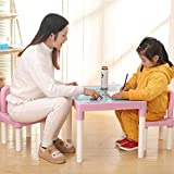 Kids Table and Chairs Set Family Time, Toddler Activity Chair Best for Toddlers Reading, Train, Art Play-Room Little Kid Children Furniture Accessories for 3+Years Old (Pink-01)