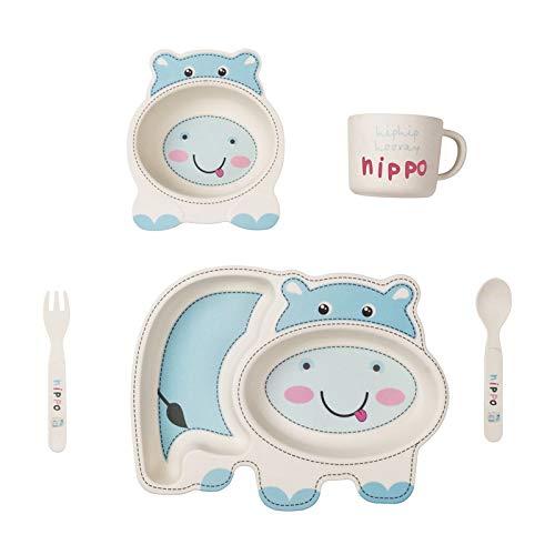 Vajilla infantil, juego de cinco piezas, vajilla infantil de bambú ecológica para bebés , adecuada para bebés mayores de 6 meses, platos, cuencos, tazas, cucharas y tenedores aptos para lavavajillas