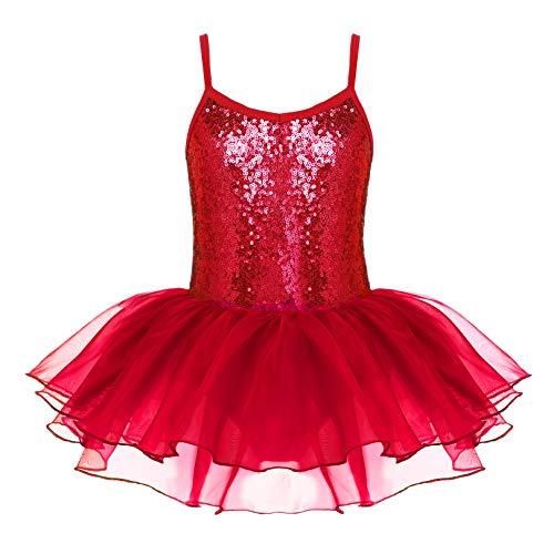 Zaclotre Kids Little Girls Sequin Sparkly Strap Leotards for Dance Ballet Casual Dress Red