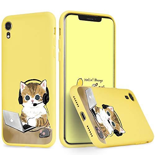 Idocolors Funda para iPhone 6/6S Plus Silicona Gel Gato de Trabajo Carcasa Totalmente Protectora con Forro Interno Microfibra Cover Anti-Rasguño y Resistente Huellas Dactilares Case - Amarillo Caso
