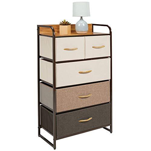 mDesign Kommode mit 5 Schubladen – hoher Schubladenschrank für Schlafzimmer, Wohnzimmer oder Flur – Kleiderkommode aus Metall, MDF und Stoff – mehrfarbig und braun