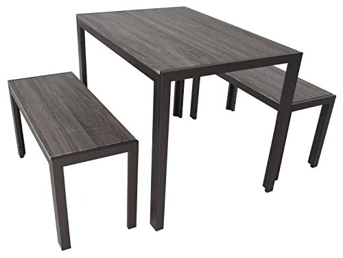 """Zenvida Dining Set Table and Two Benches Modern Style, Seats 4 - 3 piece dining set made from strong steel and MDF construction Industrial modern style table set includes 2 benches and table in rustic grey color Table measures 39.5"""" L x 27.5"""" W x 29.75"""" H, benches measure 34"""" L x 13.75"""" W x 18"""" H - kitchen-dining-room-furniture, kitchen-dining-room, dining-sets - 41hyEOi+WqL -"""
