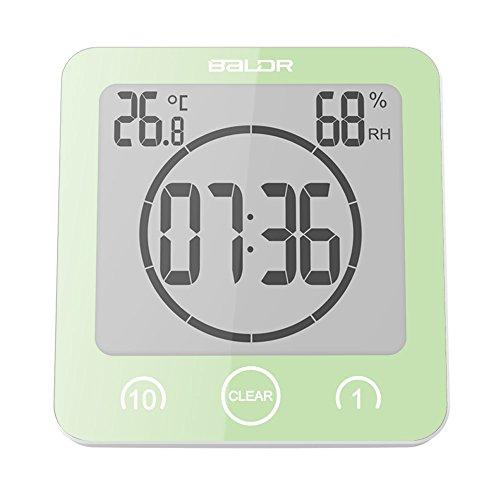 BALDR Bathroom LCD Waterproof Shower Clock, Green