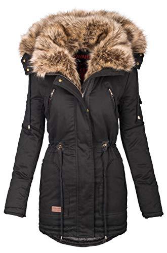 Navahoo warme Damen Winter Jacke Parka lang Mantel Winterjacke Fell Kragen B380 [B380-Schwarz-Gr.S]