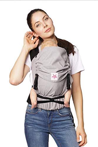 Babytrage KOKADI® TaiTai Just Stone (Babysize) – Babytrage ab Geburt ✓ Ergonomisch ✓ Mitwachsend ✓ Vorne & Hinten ✓ Sommer & Winter ✓ Zertifiziert ✓ Tragetuchstoff ✓ GRATIS Beutel