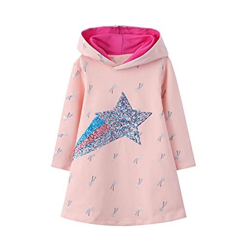Baogaier Dziewczęca sukienka z długim rękawem z kapturem w paski, sukienka na sweter, sweter, sukienka, bluza z kapturem, sukienka z kapturem, top, wiosna, jesień, zima, dla dzieci w wieku 2-7 lat, Sequins i gwiazdy, 4-5 Lata