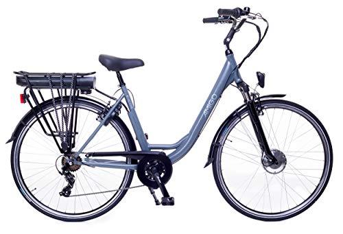 Amigo E-Active - Bicicletta elettrica da donna, 28 pollici, con cambio Shimano a 7 marce, cambio a mozzo da 250 W e 13 Ah, batteria agli ioni di litio da 36 V, colore grigio opaco