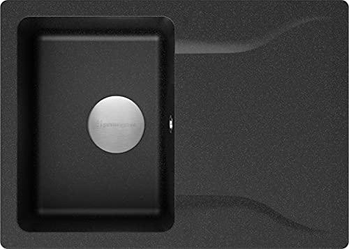 Spülbecken Graphit 70 x 50 cm, Granitspüle + Siphon Premium, Küchenspüle ab 45er Unterschrank, Einbauspüle von Primagran