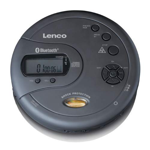 Lenco CD-300 - Tragbarer CD-Player Walkman - Bluetooth Diskman - CD Walkman - MP3 Funktion - Antishock - 2 x 2000mAh Akku - Kopfhörer - Micro USB Ladekabel - Schwarz