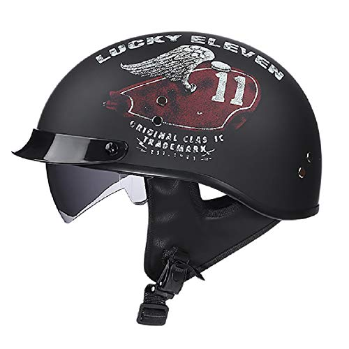 GAOZH Retro Halbschale Jet-Helm Motorrad-Helm Brain-Cap Roller-Helm Motorrad-Helm Scooter-Helm Chopper Mofa Roller ECE/DOT Zertifizierung Mit Built-in Visier (55-62CM)