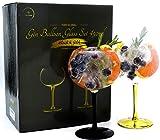 Toby Global - Juego de 2 vasos de cristal soplados a mano, sin plomo, con forma de ginebra, para sabor, ginebra y tónico