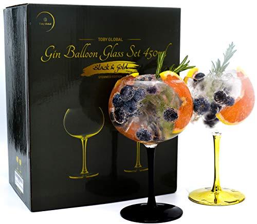 Toby Global - Set di due bicchieri a palloncino per gin in cristallo soffiato a mano, senza piombo, da 450 ml - Gin and Tonic