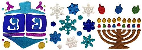Happy Hanukkah Window Cling Decorations (Blue Dreidel, Snow Flakes, Menorah)