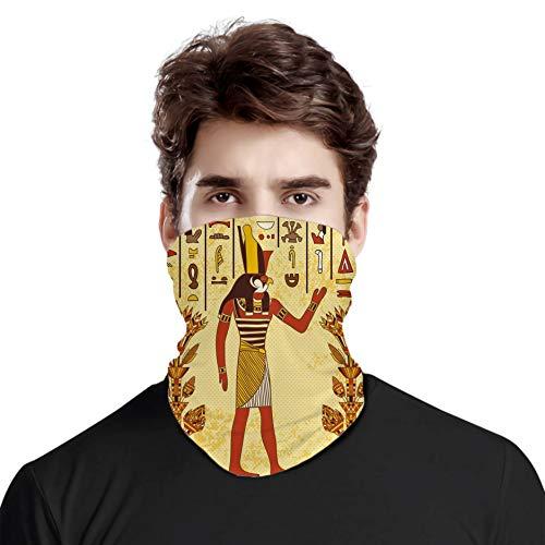 FULIYA Gran cara cubierta bufanda protección cuello, antiguo jeroglífico egipcio con faraón retro mito papiro gráfico, variedad de bufanda unisex