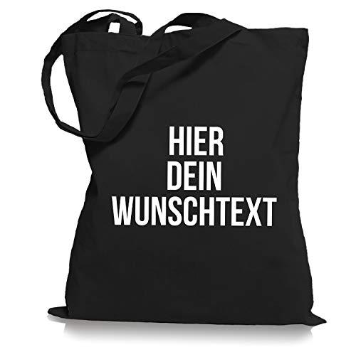 Stoffbeutel Jutebeutel mit Wunschtext/Selber gestalten mit dem Amazon T-Shirt Designer/Beutel Druck/Designertool Tragetasche/Bag/Jutebeutel WM1-black