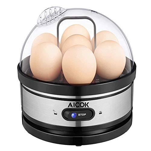 Egg cooker, AICOK Stainless Steel 7 Egg Capacity Rapid Egg Boiler with 2 BPA-Free Poachers & Heat Preservation, Electric Egg Steamer for Hard Boiled Eggs, Poached Eggs, Scrambled, Omelets, Auto Shut