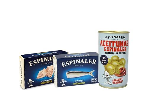 Espinaler lote gourmet aperitivo | Pack ensalada con atún claro, sardinas y aceitunas rellenas de anchoa