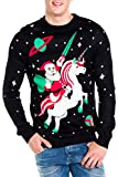 Tipsy Elves Men's Santa Unicorn Christmas Sweater XX-Large Black