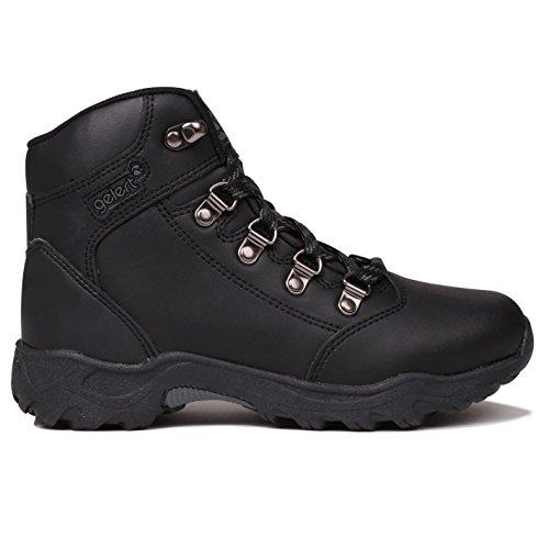 Gelert Enfant Garçon Cuir Bottes de randonnée schnuer Bottes Chaussures de randonnée Outdoor - Noir - noir,