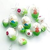 Koqit, 12 uova di Pasqua dipinte a mano da appendere, decorazione pasquale con fantastici motivi, uova di plastica in diverse misure, dimensioni: 6 cm, 4 cm