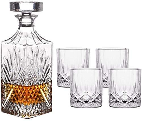 GJX Whiskey Karaffe Luxuriöse Versatile schön geschnitzten bleifreiem Kristall Whiskey Decanter Und Weingläser Set, Bewahren Getränke Temperatur, for alle Gelegenheiten geeignet