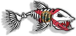 Florida Bone Fish Sticker - FL State Flag Fishing Decal Vinyl Die Cut Custom Printed Cooler Cup Car Graphic