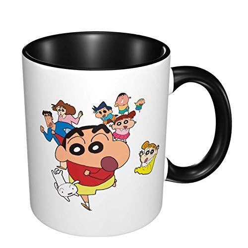 IUBBKI Crayon Shin Chan Taza de café de cerámica, taza de té grande para oficina en casa, 11 oz, apta para lavavajillas y microondas, 1 pieza (blanco)
