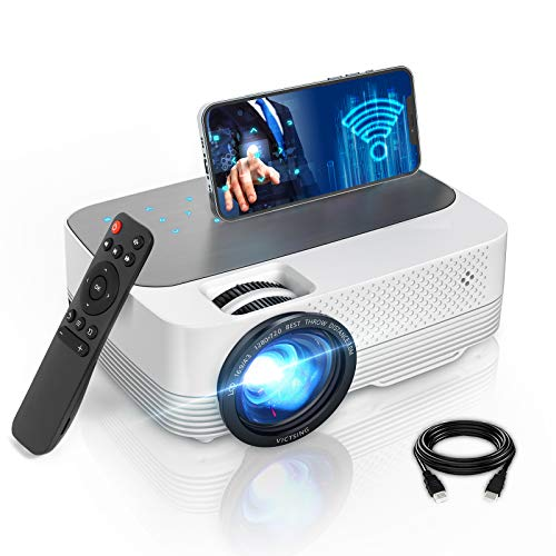 Proyector WiFi Bluetooth[con Pantalla Táctil], VictSing 6000 Lúmenes Mini Proyector Portátil Soporta Full HD 1080P,50000 Horas Proyector WiFi LED en Casa Android/iOS/TV Stick/HDMI/VGA/USB/TF/AV