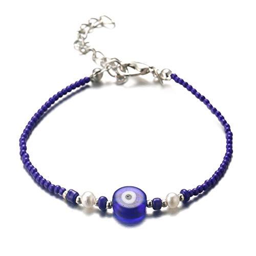 Halukakah Mal de Ojo Pulsera para Mujer Hombre,Elástico Hecho a Mano Protección Mal de Ojo Joyas Ojo Azul con Zafiro Azul Cuentas de Piedra Pulsera con Caja