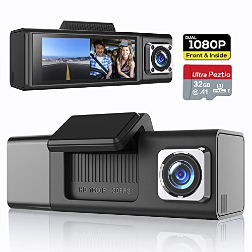 Peztio Dash Cam 1080P Front and 1080P Inside Car Camera, Dashcam for Cars Dash Cameras with SD Card, 3.18' IPS Display, IR Night Vision, 170° Wide Angle, WDR, G-sensor, Parking Monitor, Loop Recording