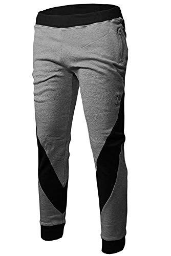 BOZEVON Pantalon de Jogging Homme - Homme Nouveau Pantalon de Jogging en Contraste de Couleur avec Poche zippée (XL, Gris Clair)