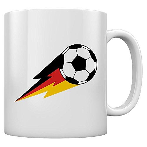 Deutschland Tasse Fussball Fantasse Feuer Ball EM Kaffeetasse Tee Tasse Becher 11 Oz. Weiß