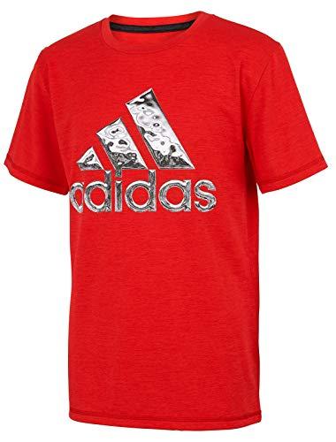 adidas Boys' Short Sleeve Logo Tee Shirt (Small, Hi-Res Red Heather)