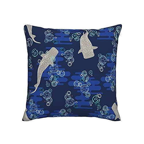 Fundas de almohada decorativas de 45,7 x 45,7 cm, fundas de almohada de imitación de lino para sofá, cama, silla, coche, tiburones ballena