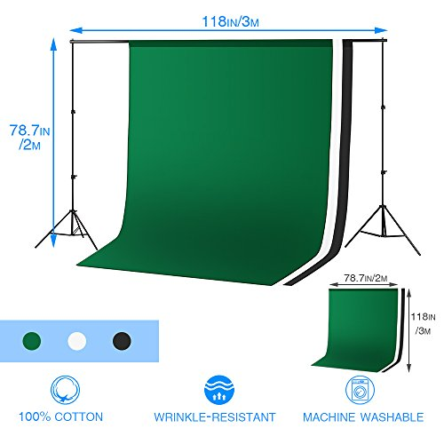 Photography Video Studio, 10x6.5 FT Background Support System and 800W 5500K Umbrella Softbox Continuous Lighting Kit for Photo Video Studio Shooting, Green White Black Muslin Backdrop Screen Stands