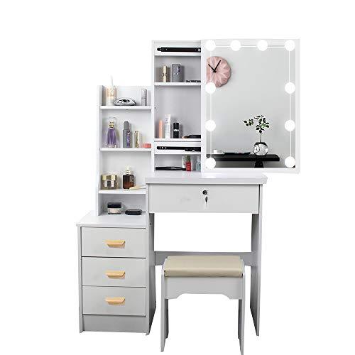Weißer Schminktisch mit beleuchtetem Spiegel und Schubladen, Hocker für Schlafzimmer, Kommode (Typ B)